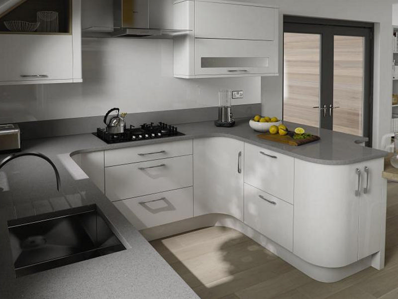 White High Gloss Kitchen With Handles