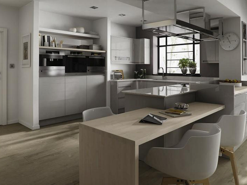 Remo gloss dove grey handleless kitchen doors at discount for Kitchen ideas grey gloss