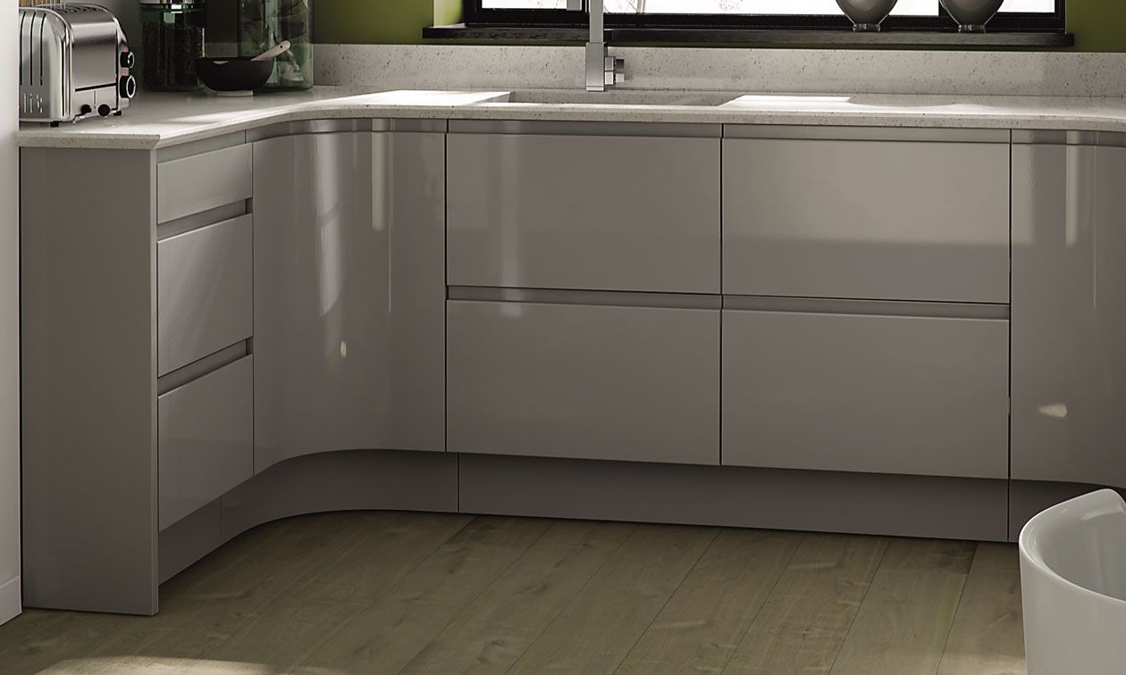 Remo gloss dove grey kitchens at trade prices trade save for Kitchen units grey gloss