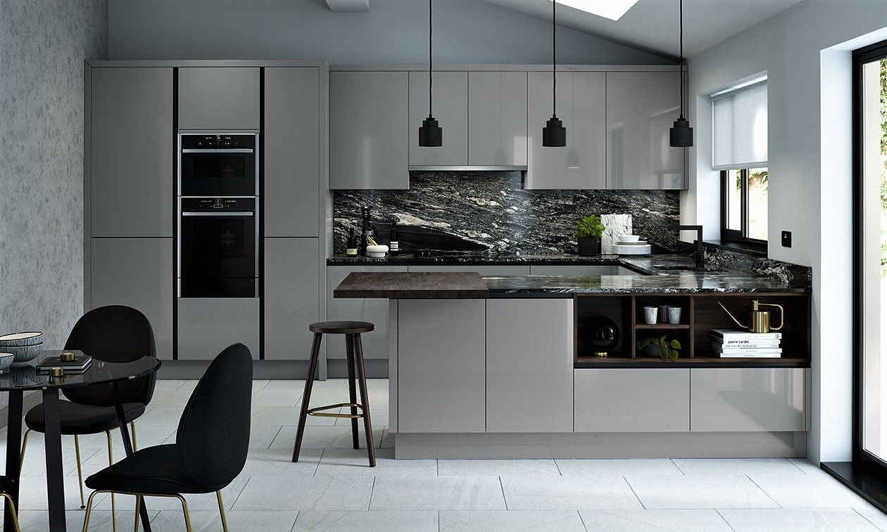 True Handleless Gloss Dust Grey Kitchen