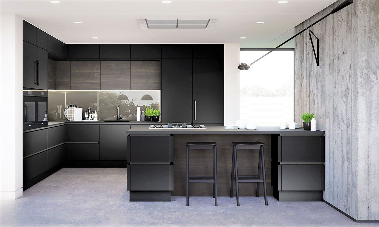 True Handleless Gloss Graphite Kitchen