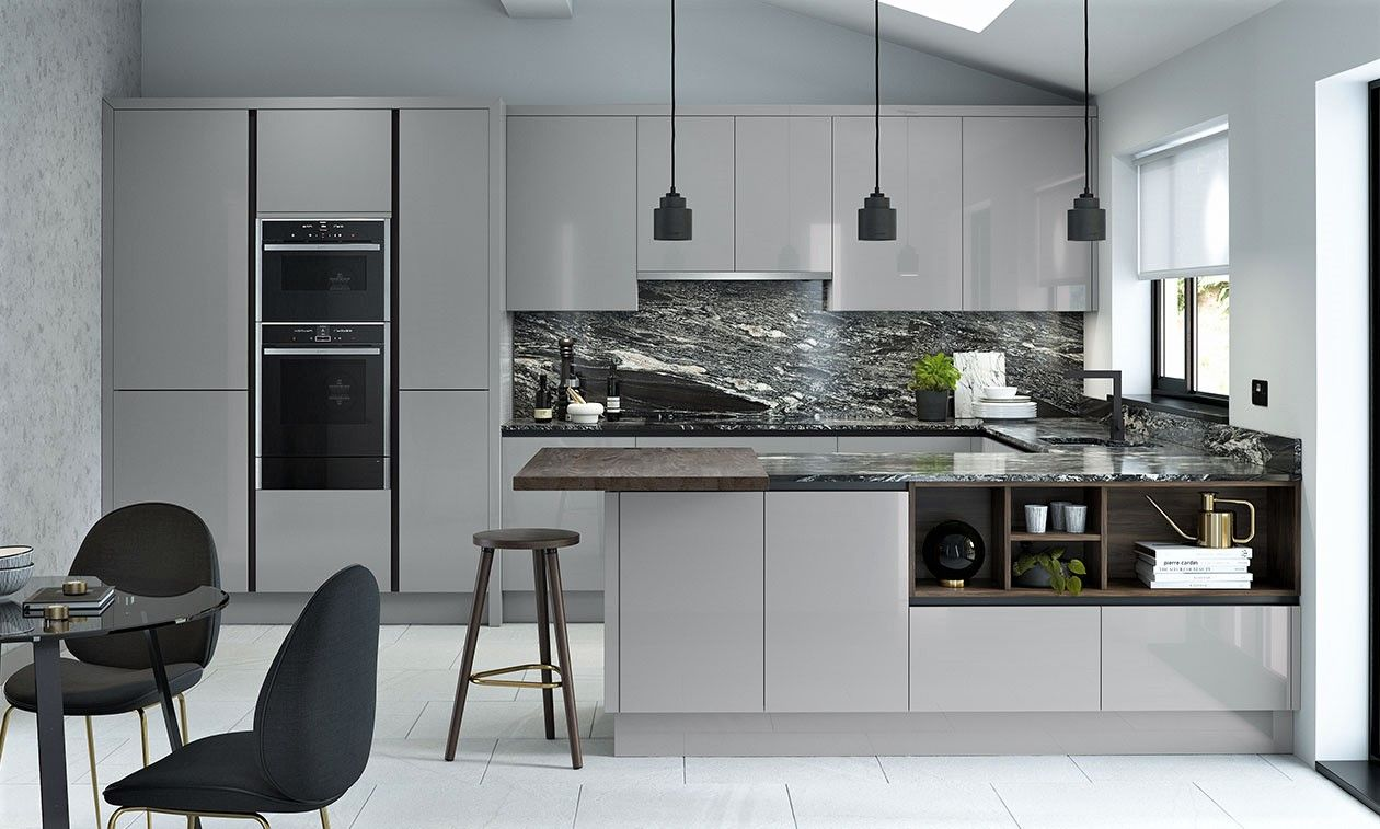 True Handleless Gloss Sliver Grey Kitchen